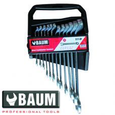 Набор ключей рожково-накидных отогнутых на 75° в пласт. держателе 12 пр. (7-22 мм) (BAUM 40-12MP)