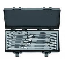 Набор ключей рожково-накидных трещоточных, отогнутых+адаптеры 16 пр. (8-19 мм) (FORCE 5164R)