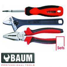 Набор инструмента на полотне 3 пр.: отвертка; плоскогубцы L=200 мм; ключ разводной L=200 мм (Baum 190E)