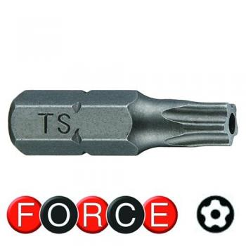 """1/4"""" Бита Torx с отверстием 5-ти лучевая TS40, L=25 мм (FORCE 12F2540)"""