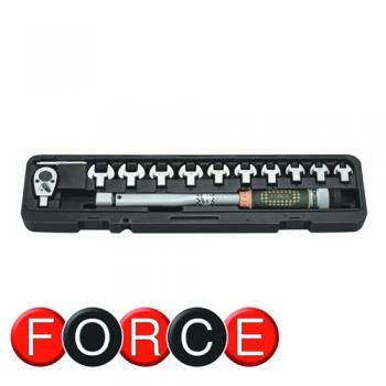 """3/8"""" Ключ динамометрический со сменными насадками рожкового типа 11 пр. (20-110 Hм) (FORCE 64711)"""