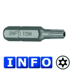 """1/4"""" Бита Torx с отверстием Т25Н, L=30 мм (INFO 9273025 I)"""