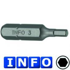 """5/16"""" Бита 6-гр. (HEX) 7 мм, L=30 мм (INFO 9543007 I)"""