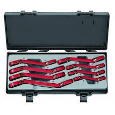 Набор ключей трещоточных накидных, отогнутых на 15° 8 пр. (6-22 мм) (FORCE 50811)
