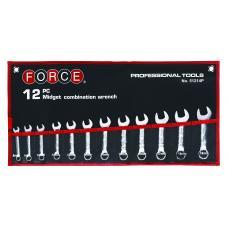 Набор ключей рожково-накидных укороченных на полотне 12 пр. (8-19 мм) (FORCE 51214P)