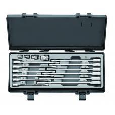Набор ключей рожково-накидных трещоточных, прямых+адаптеры 16 пр. (8-19 мм) (FORCE 5164)