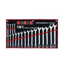 Набор ключей рожково-накидных отогнутых на 75° на полотне 19 пр. (6-24 мм) (FORCE 5192)