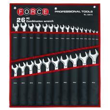 Набор ключей рожково-накидных на полотне 26 пр. (6-32 мм) (FORCE 5261C)