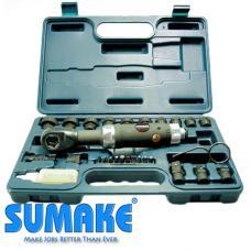 """1/2"""" Пневмотрещотка угловая (34 Нм) с ударнными головками (8-21 мм) (SUMAKE ST-5510K)"""